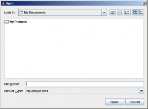 Opening screen of Zipper Open Dialog box Utility