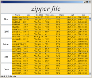 Opening screen of Zipper Open file Utility