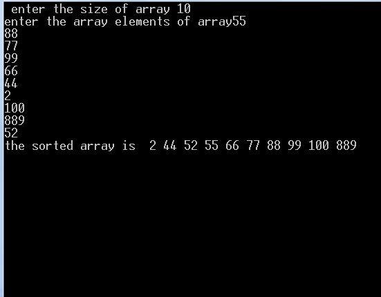 quicksort output
