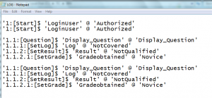 Log file output of execution log program