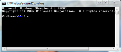 tc command in DOS window (command prompt)