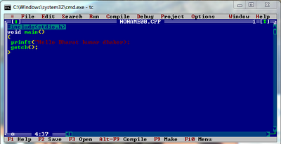 turbo c or c++ open in dos window (command prompt)