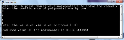 Output of Horner method or algorithm in c programming language to solve polynomial expression