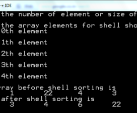 Output of Shell sort algorithm to sort array element