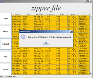 Opening screen & dialog box of Zipper Extraction file Utility
