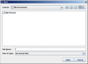 Opening screen of Zipper Open Dialog box Utility